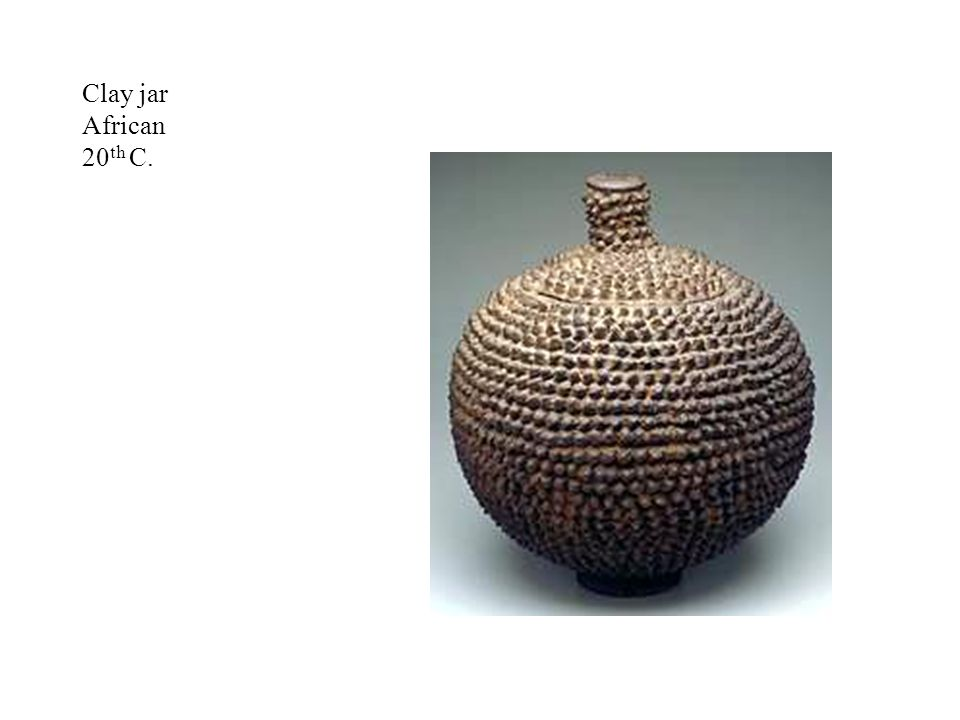 Clay jar African 20th C. Lobi jar