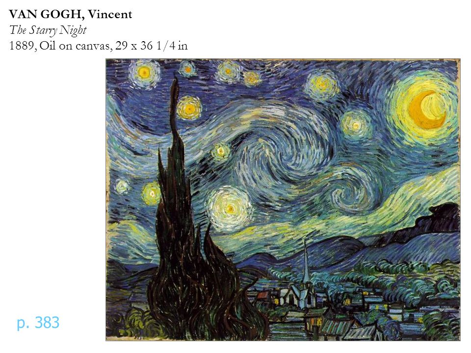 VAN GOGH, Vincent The Starry Night 1889, Oil on canvas, 29 x 36 1/4 in