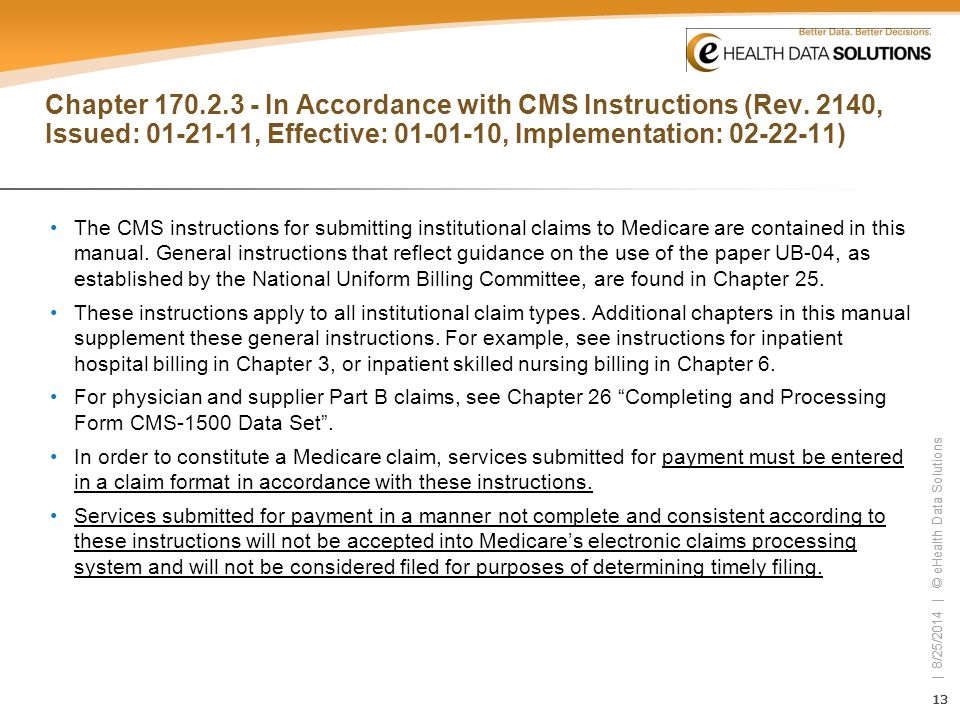 Chapter 170. 2. 3 - In Accordance with CMS Instructions (Rev