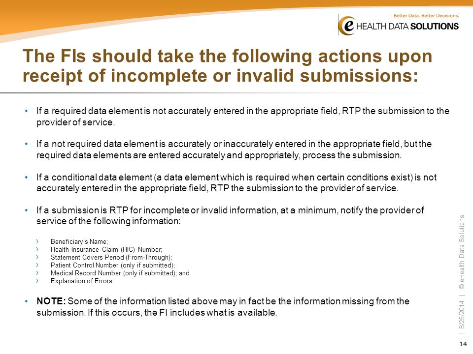 The FIs should take the following actions upon receipt of incomplete or invalid submissions: