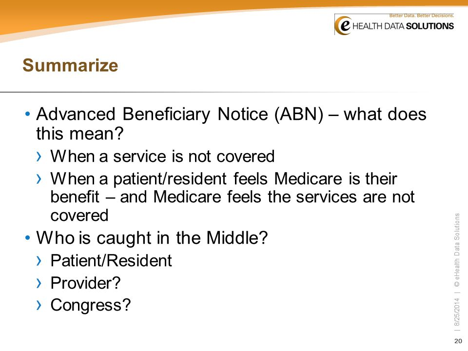 Advanced Beneficiary Notice (ABN) – what does this mean