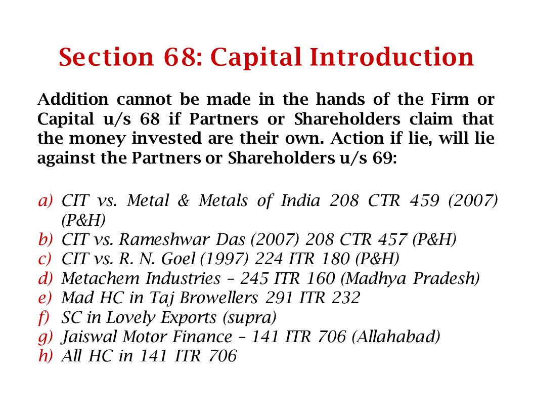 Section 68: Capital Introduction
