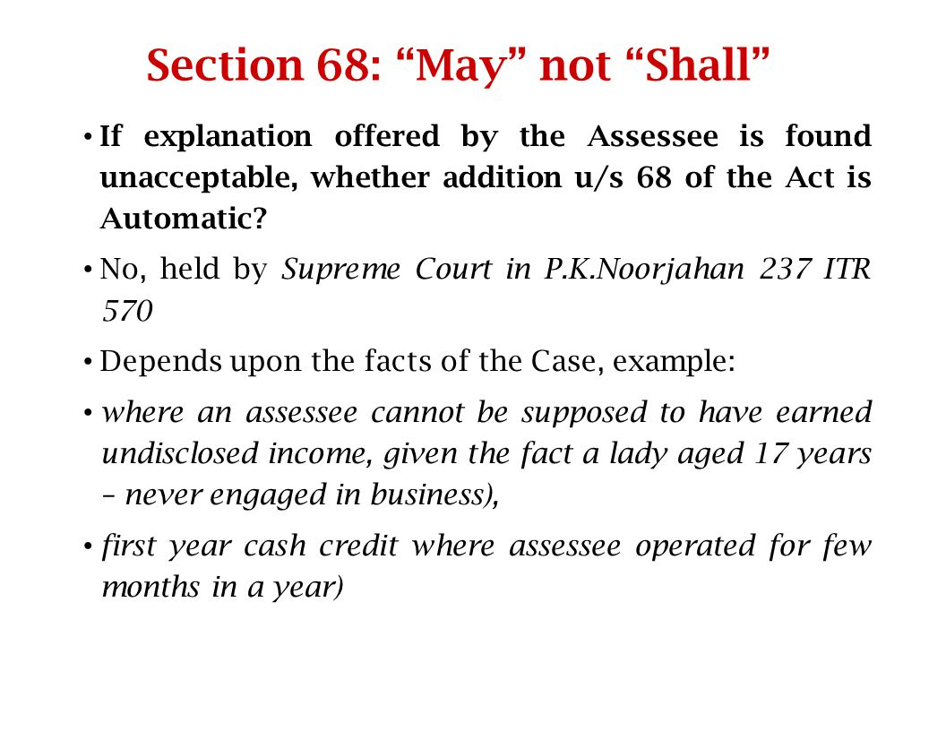 Section 68: May not Shall