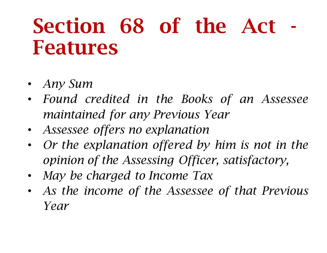 Section 68 of the Act - Features