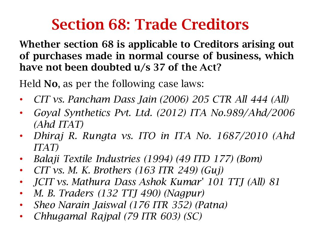 Section 68: Trade Creditors
