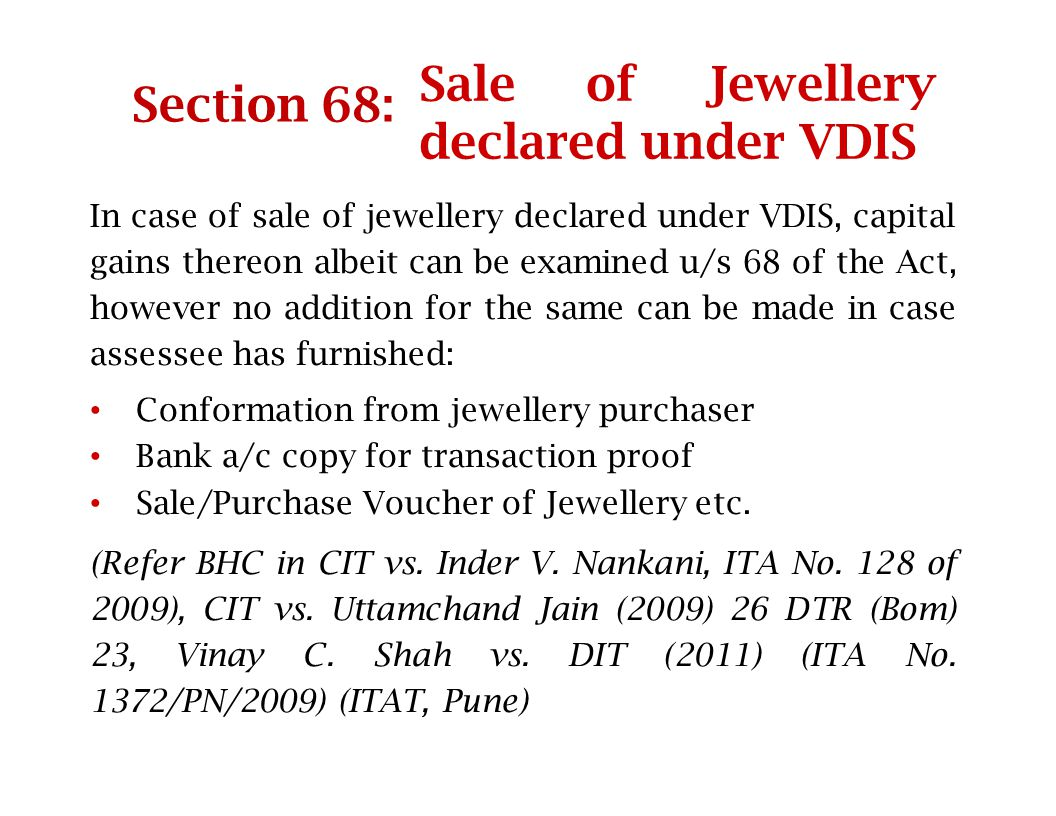 Sale of Jewellery declared under VDIS