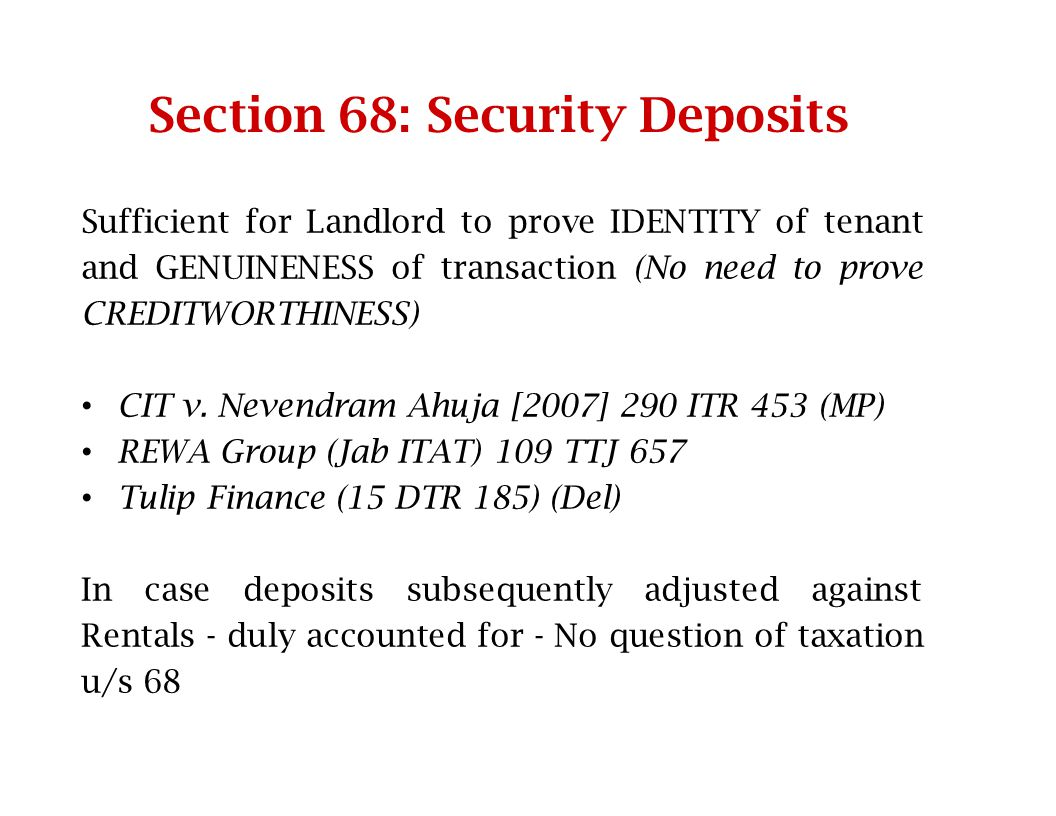 Section 68: Security Deposits