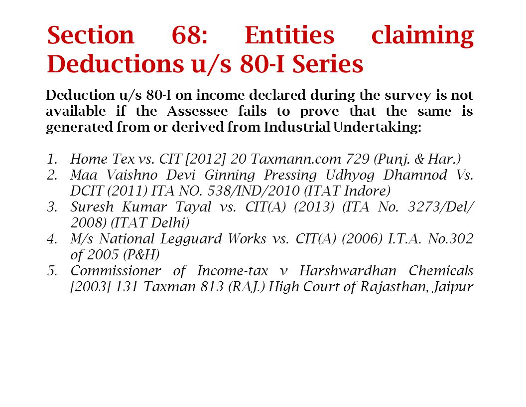 Section 68: Entities claiming Deductions u/s 80-I Series