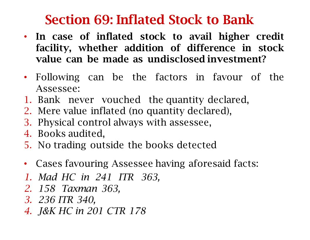 Section 69: Inflated Stock to Bank