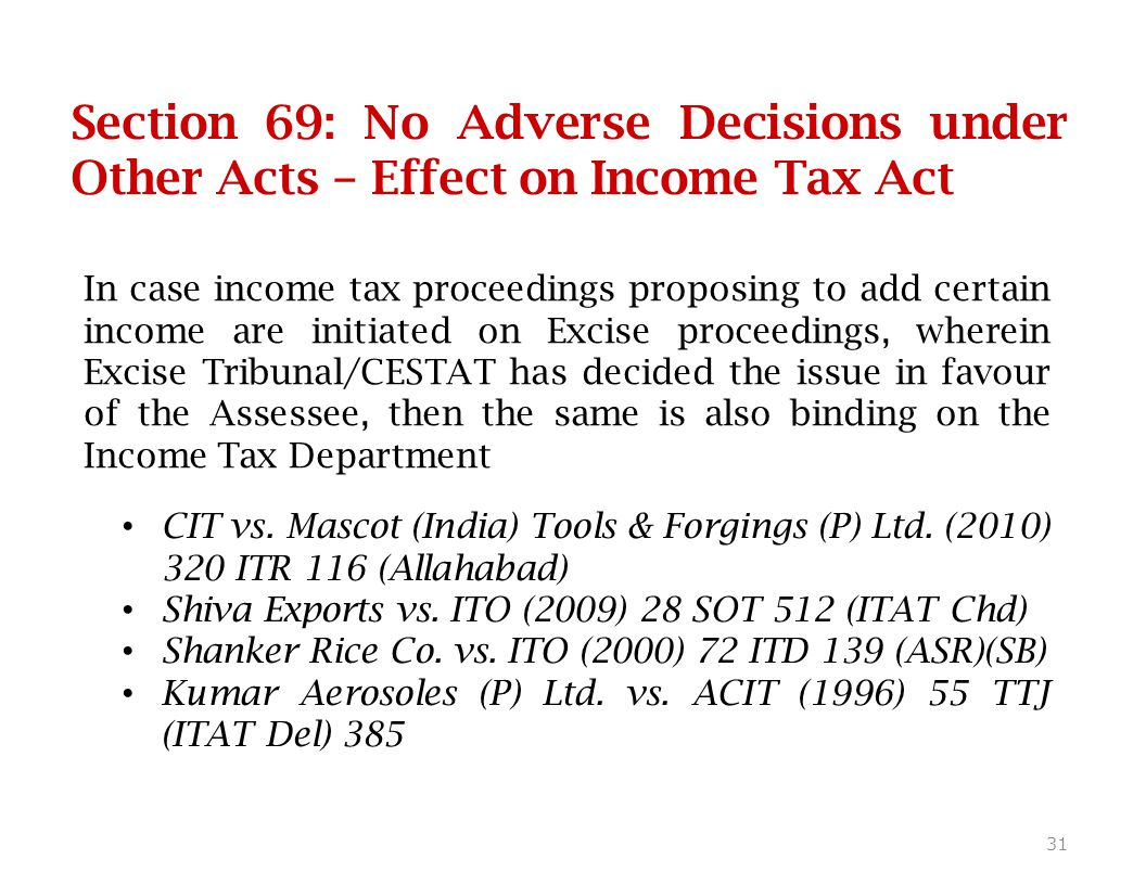 Section 69: No Adverse Decisions under Other Acts – Effect on Income Tax Act