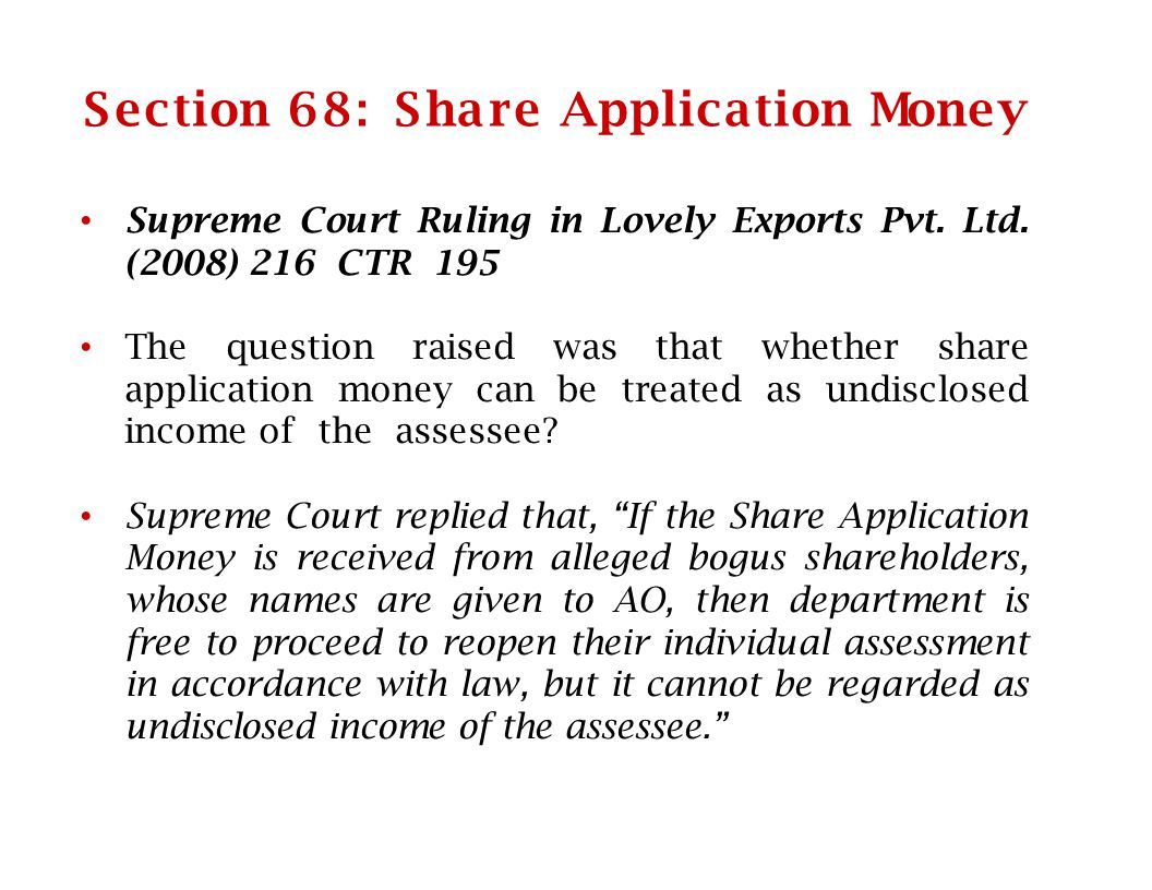S ection 68 : S ha re Applica tion Money