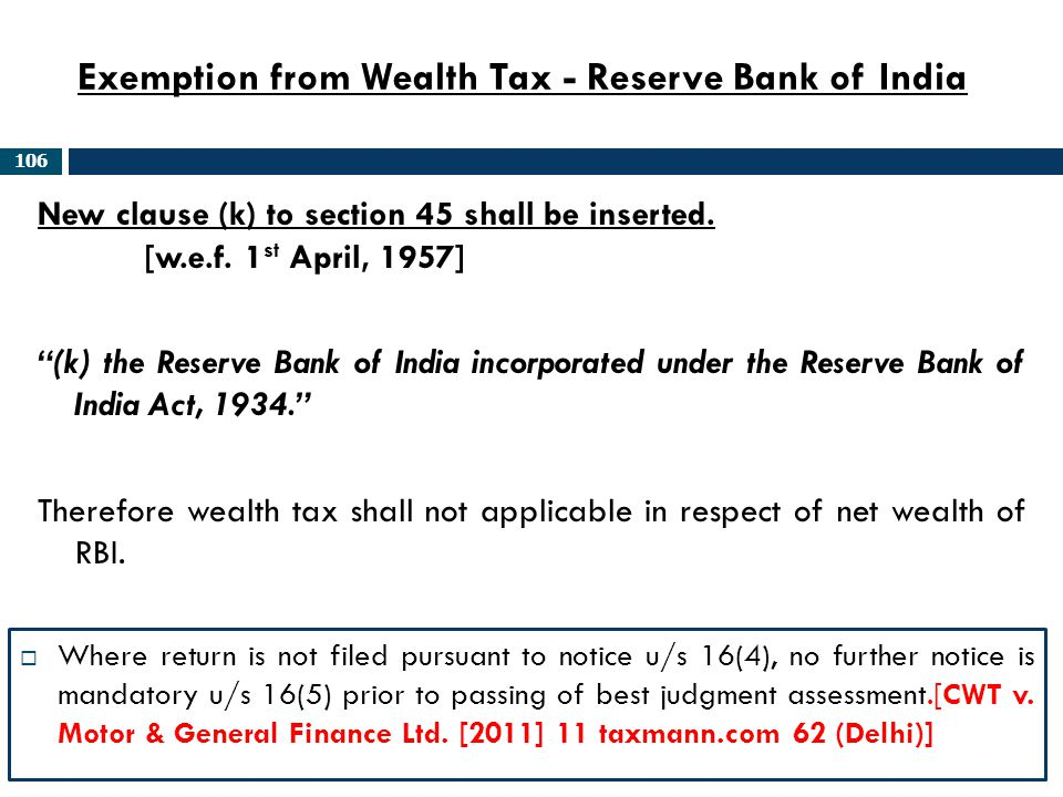 Exemption from Wealth Tax - Reserve Bank of India