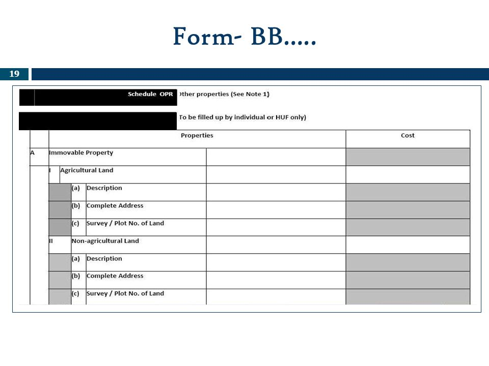 Form- BB….. Note 1: OPR;