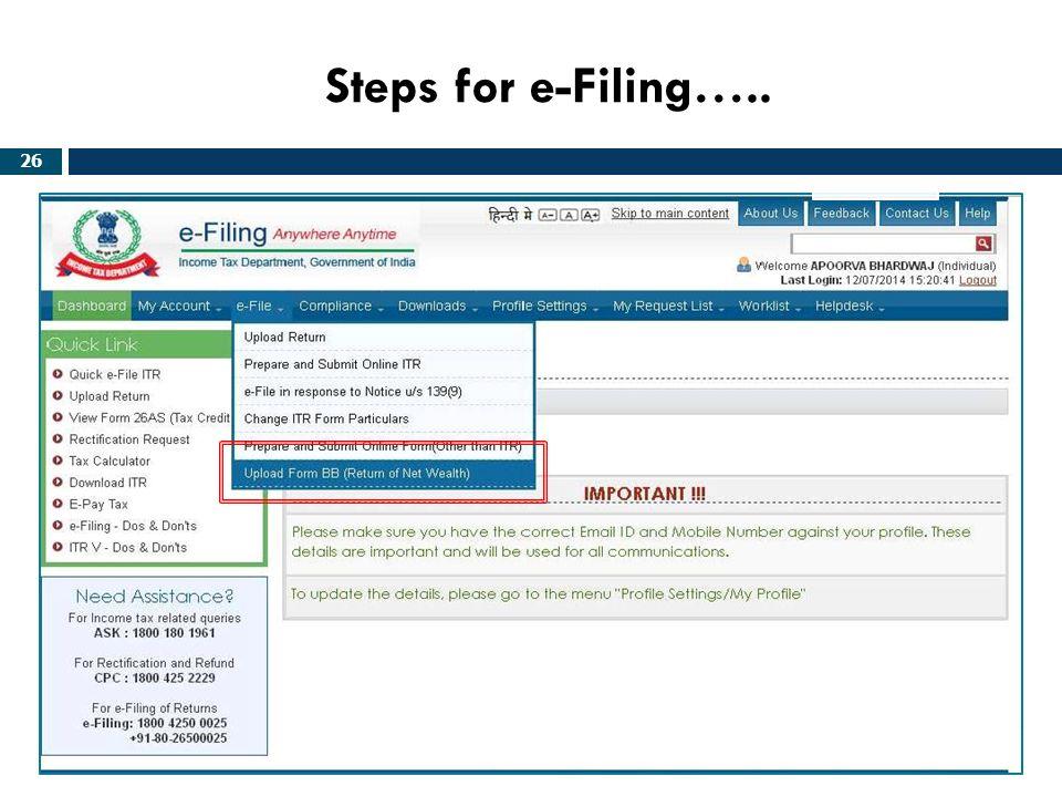 Steps for e-Filing…..
