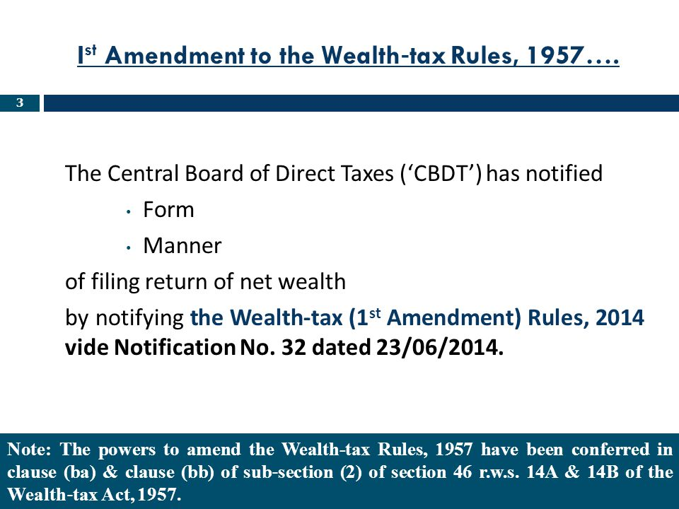 Ist Amendment to the Wealth‐tax Rules, 1957….
