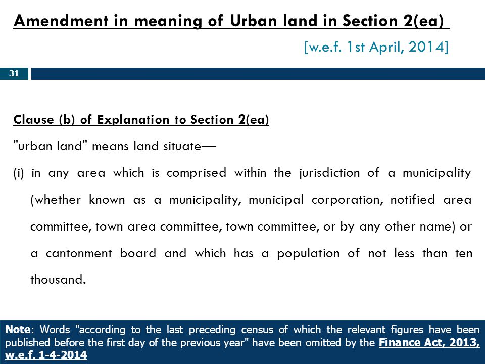 Amendment in meaning of Urban land in Section 2(ea). [w. e. f