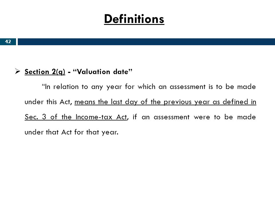 Definitions Section 2(q) - Valuation date