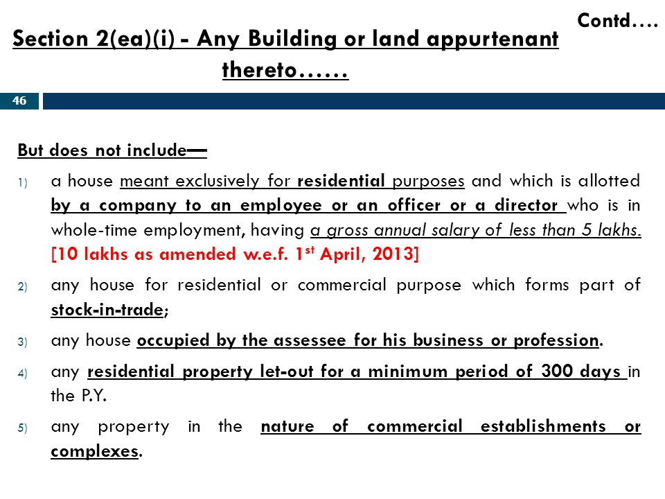 Section 2(ea)(i) - Any Building or land appurtenant thereto……