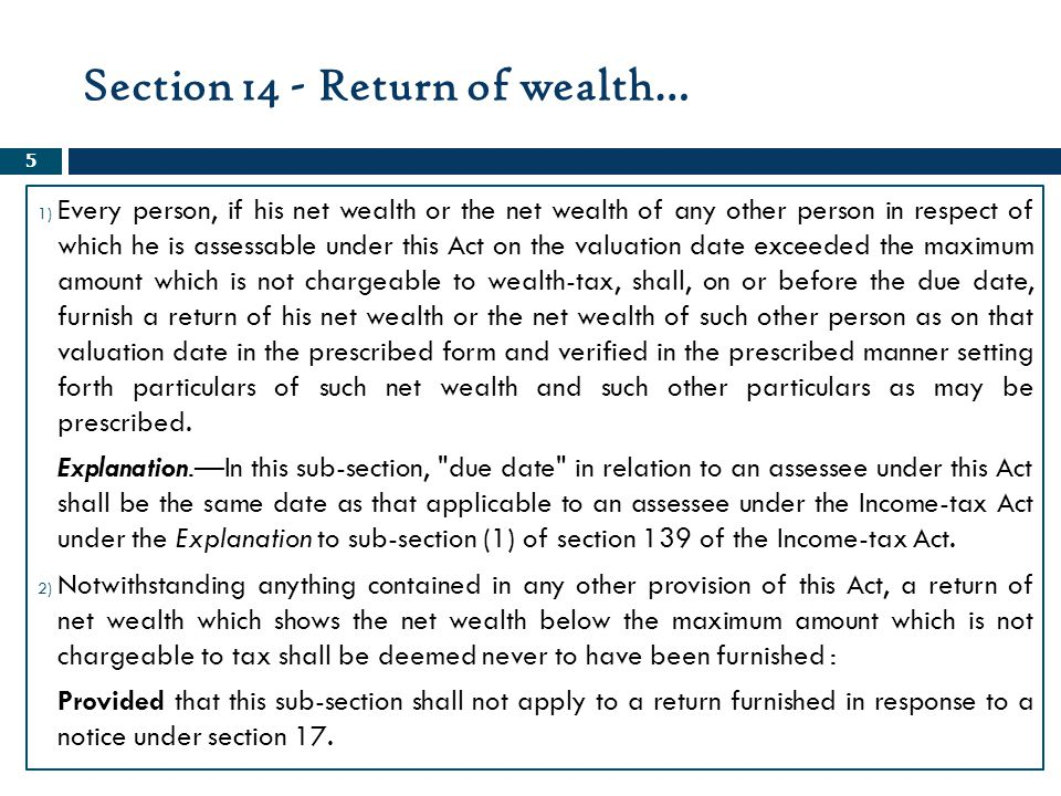 Section 14 - Return of wealth…