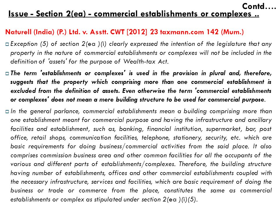 Issue - Section 2(ea) - commercial establishments or complexes ..