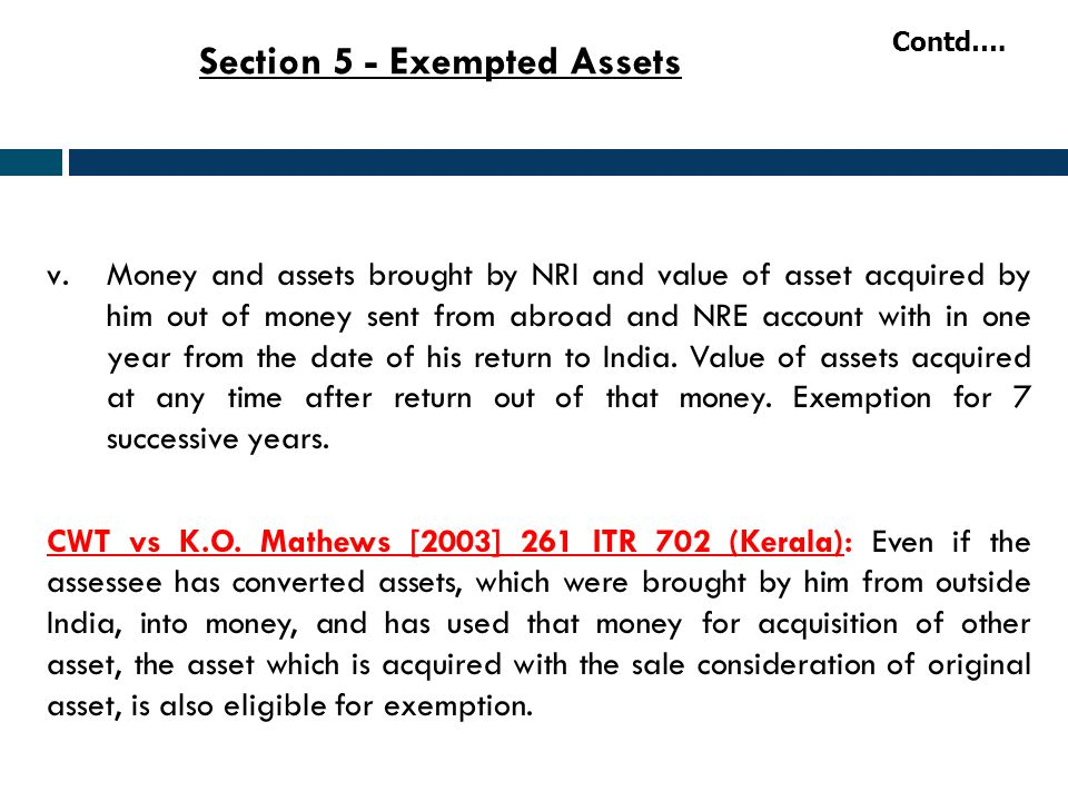 Section 5 - Exempted Assets