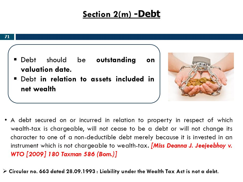 Section 2(m) -Debt Debt should be outstanding on valuation date.