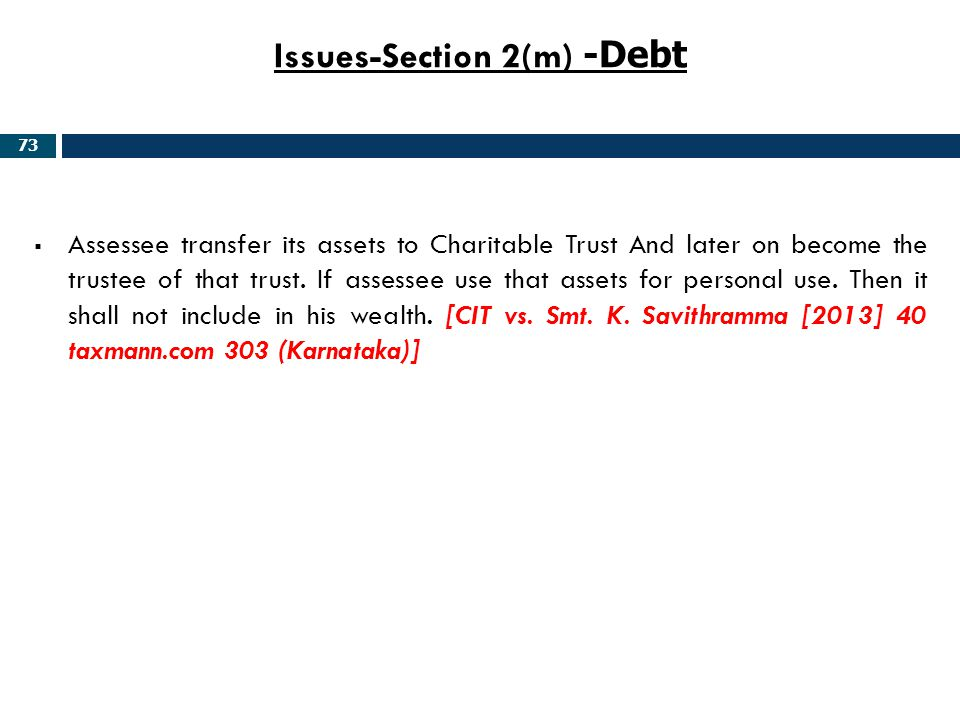 Issues-Section 2(m) -Debt