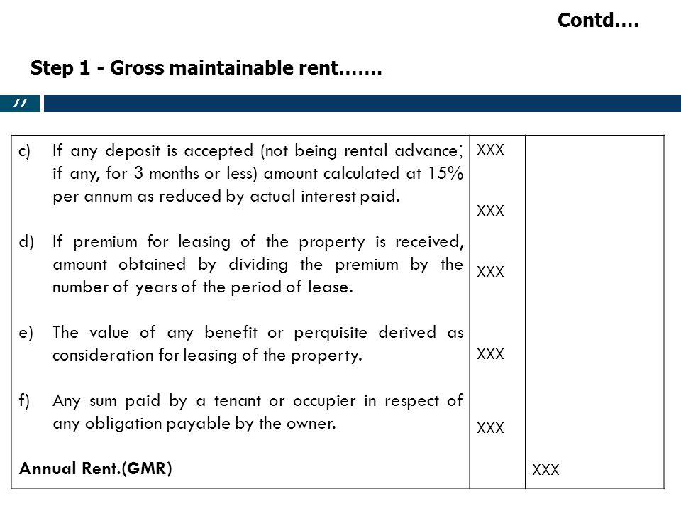 Step 1 - Gross maintainable rent…….