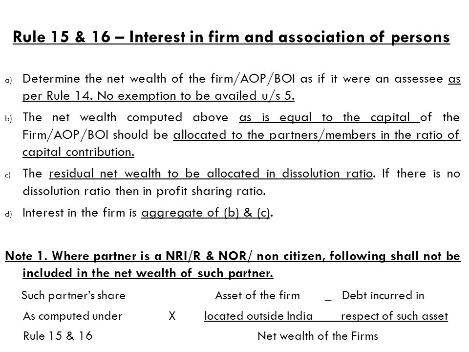 Rule 15 & 16 – Interest in firm and association of persons