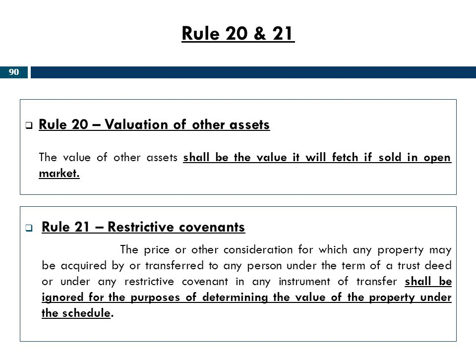 Rule 20 & 21 Rule 20 – Valuation of other assets