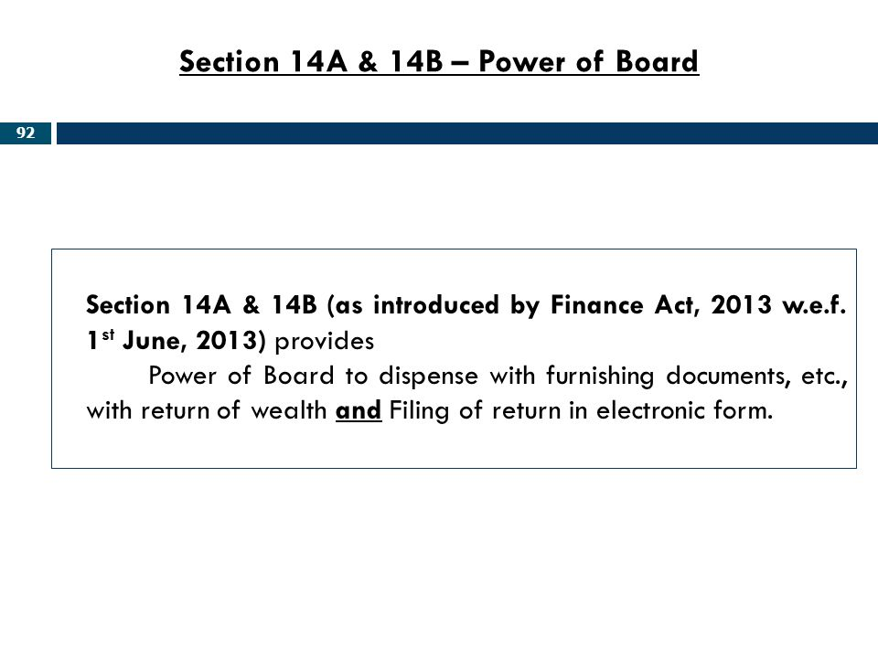 Section 14A & 14B – Power of Board