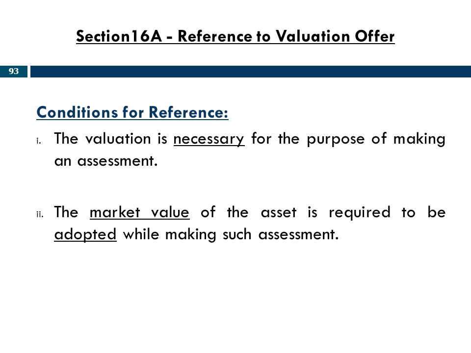 Section16A - Reference to Valuation Offer