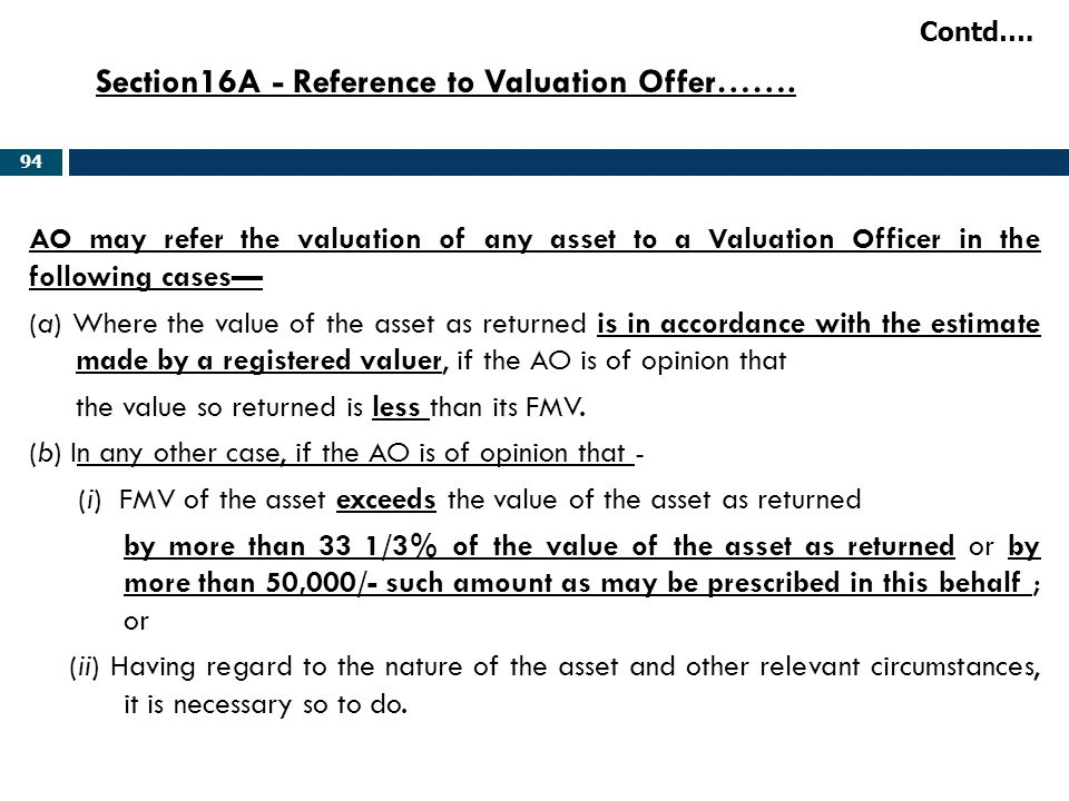 Section16A - Reference to Valuation Offer…….