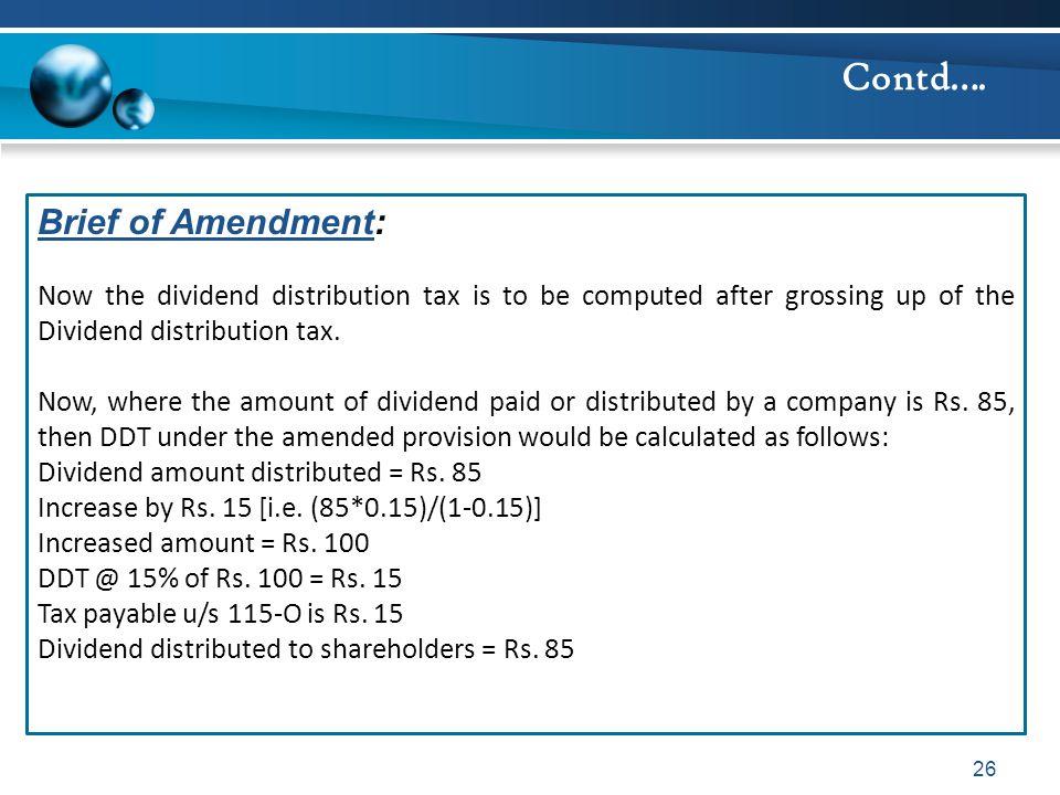 Contd…. Brief of Amendment: