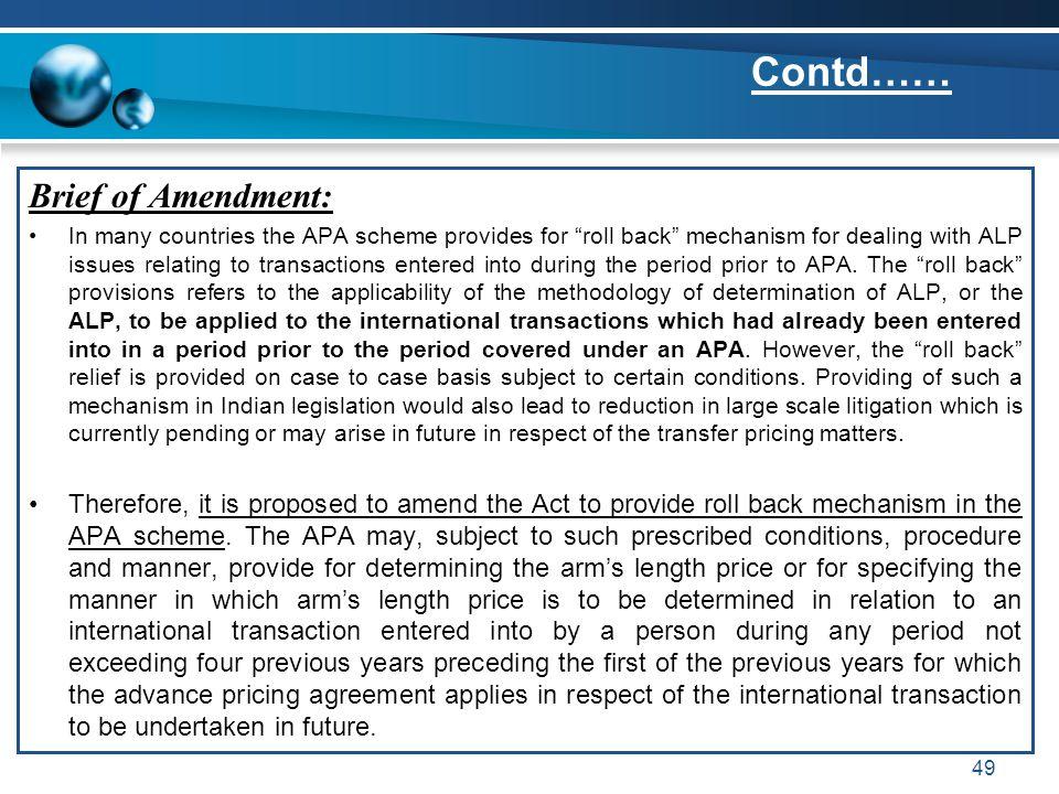Contd…… Brief of Amendment: