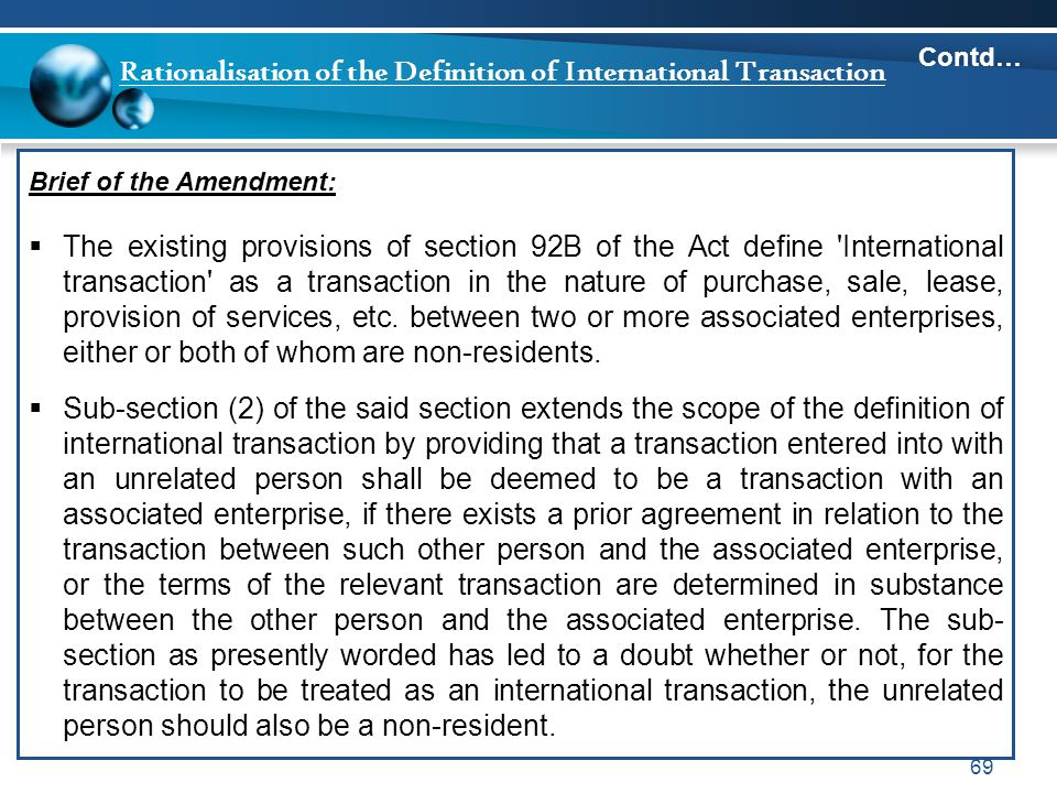Rationalisation of the Definition of International Transaction