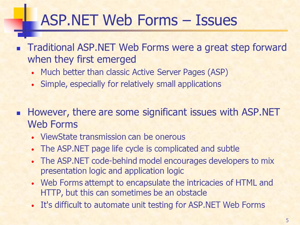 ASP.NET Web Forms – Issues