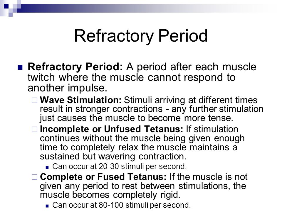 Refractory Period Refractory Period: A period after each muscle twitch where the muscle cannot respond to another impulse.