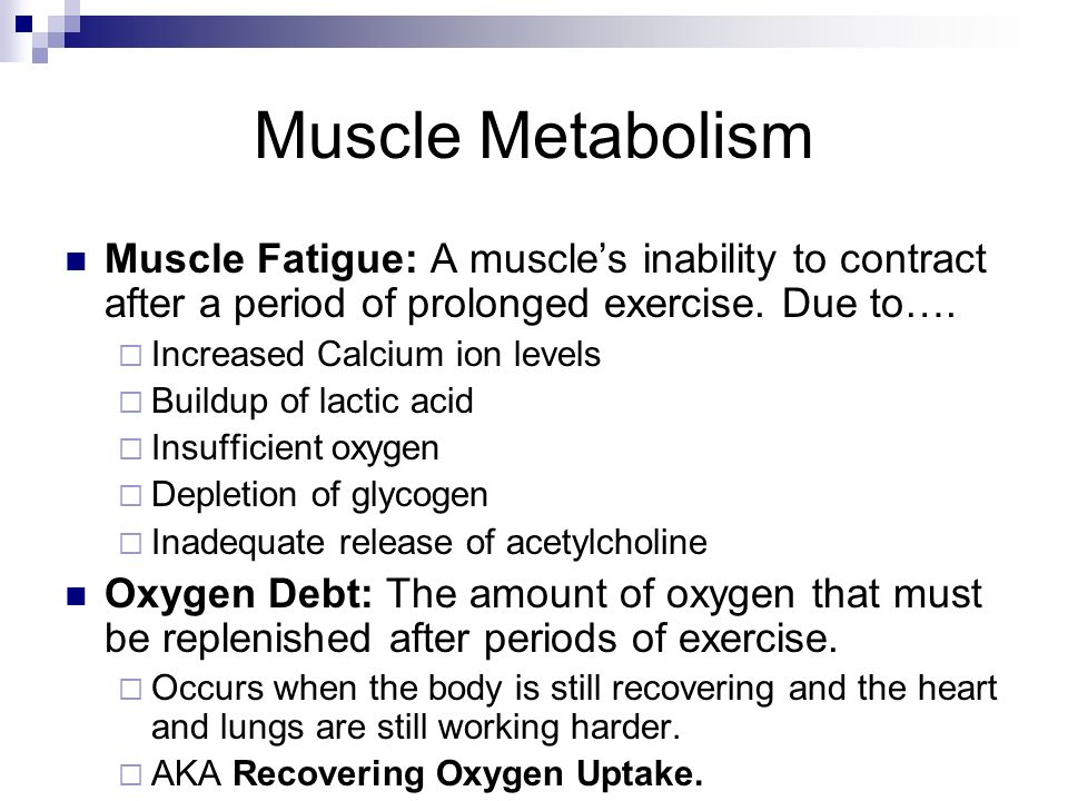 Muscle Metabolism Muscle Fatigue: A muscle's inability to contract after a period of prolonged exercise. Due to….