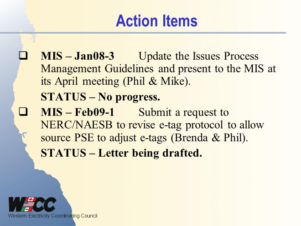 Action Items MIS – Jan08-3 Update the Issues Process Management Guidelines and present to the MIS at its April meeting (Phil & Mike).