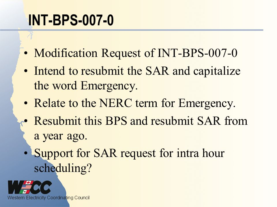 INT-BPS-007-0 Modification Request of INT-BPS-007-0