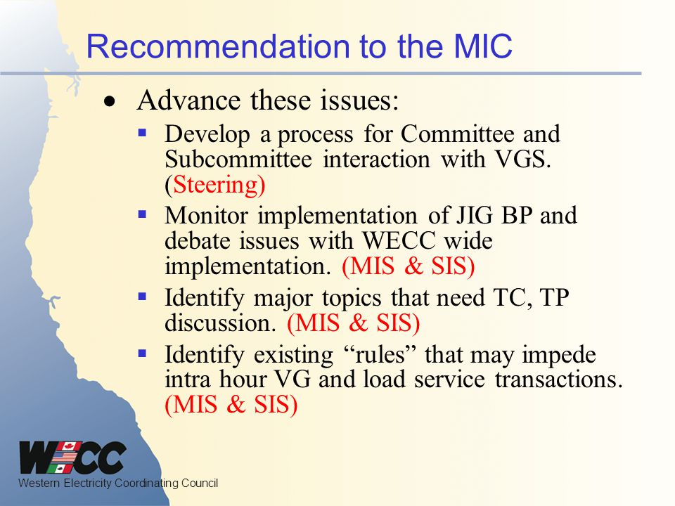 Recommendation to the MIC