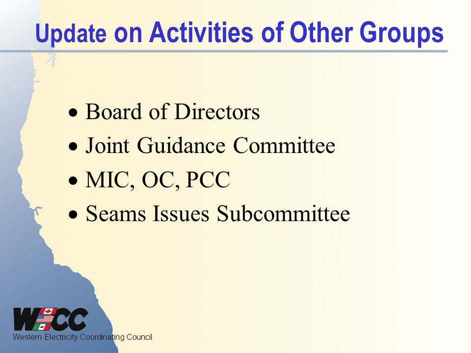 Update on Activities of Other Groups