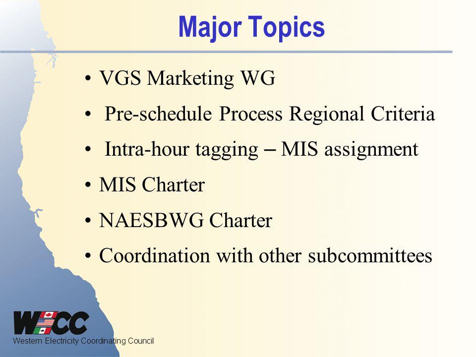 Major Topics VGS Marketing WG Pre-schedule Process Regional Criteria