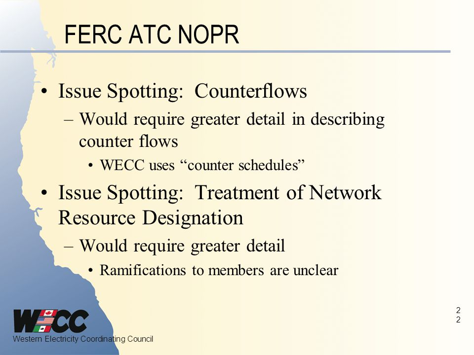 FERC ATC NOPR Issue Spotting: Counterflows