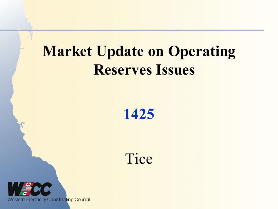 Market Update on Operating Reserves Issues