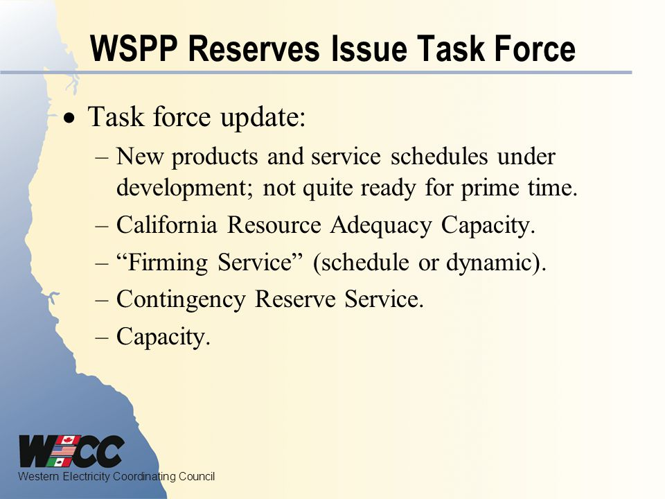 WSPP Reserves Issue Task Force