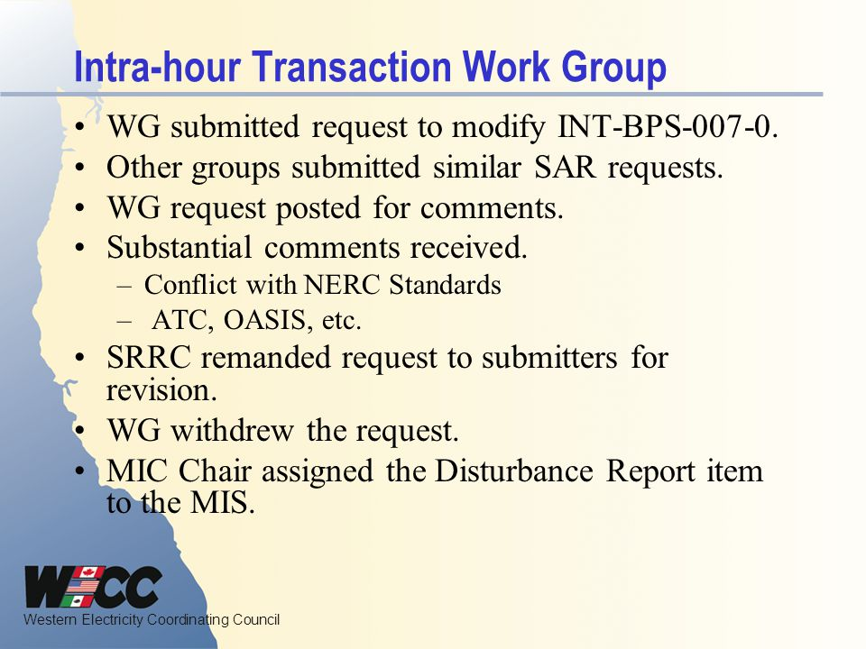 Intra-hour Transaction Work Group
