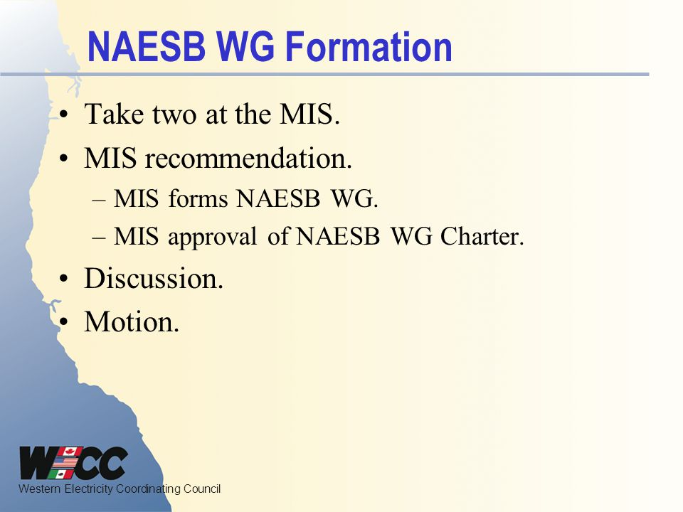 NAESB WG Formation Take two at the MIS. MIS recommendation.
