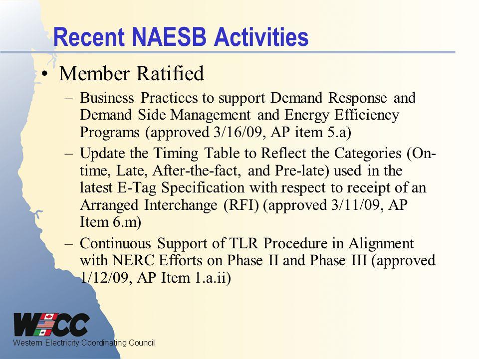 Recent NAESB Activities